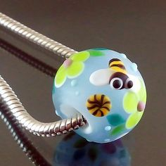 PIKALDA=handmade lampwork 1charm glass bead big hole flower lemon=BEE'S LIFE=SRA