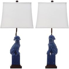 Safavieh Foo Dog Table Lamp with CFL Bulb, Multiple Colors, Set of 2, White