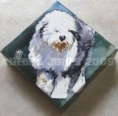 Oil Painting Old English Sheepdogs | This is one of my prize miniature canvases. I just love the attitude ...