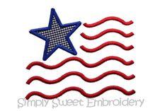 Flag Machine Embroidery Applique Design