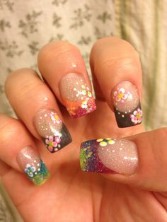 Want to do deep smile line design then put little rhinestones along it !!  Acrylic nail design