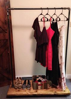 Clothing Rack - Garment Rack - Rustic Clothing Rack - Industrial Clothing Rack - Rustic Garment Rack - Industrial Garment Rack - Storage by RusticReconstruction on Etsy https://www.etsy.com/listing/467162931/clothing-rack-garment-rack-rustic