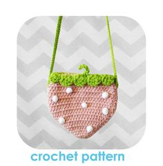 Adorable strawberry crossbody bag - PDF crochet pattern - INSTANT DOWNLOAD
