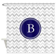 Navy monogram grey chevron Shower Curtain for