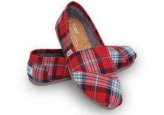 Red Woven Plaid Women's Classics | TOMS
