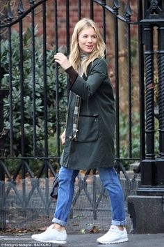 Stay dry this winter in Sienna's Barbour jacket #dailymail #Barbour #SiennaMiller #rain Click 'Visit' to buy now