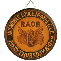 Restored Vintage English R.A.O.B Automobile Lodge Sign on Board   From a unique collection of antique and modern signs at http://www.1stdibs.com/furniture/folk-art/signs/