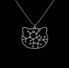 Catnip molecule - chemistry necklace - catswort pendant - catmint - Nepetalactone - Nepeta cataria - pets lovers - sterling silver chain, Jewelry Necklaces Pendants Hello kitty zoology cat necklace science necklace pet jewelry kitten necklace nerd necklace geek necklace chemistry necklace biology necklace molecule necklace psychology necklace cat jewelry