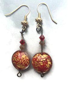Beautiful Red Gold Marbled Murano earrings 24k foil murano venetian earrings Murano Italian glass earrings