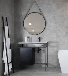 Discover trend-forward black bathroom furniture and taps. Embrace the industrial styling and really make a statement in your bathroom when matched with white bath and cement-look tiles. Bathroom Furniture, Black Bathroom Furniture, Industrial Style, Bathroom Basin, Round Mirror Bathroom, White Bathroom, Beautiful Bathrooms, Bathroom Accessories, Master Bedroom Interior