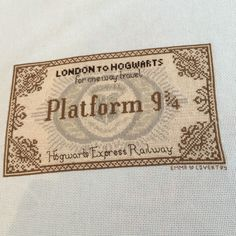 Harry Potter Hogwarts Express Ticket Cross Stitch (pattern from Etsy) Cross Stitch Pillow, Cross Stitch Art, Cross Stitch Designs, Cross Stitching, Cross Stitch Embroidery, Cross Stitch Patterns, Harry Potter Crochet, Harry Potter Quilt, Hama Beads