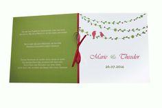 """Einladungskarten - Einladungskarte Hochzeit """"Vogelhochzeit"""" 15 x 15cm - ein Designerstück von moments bei DaWanda"""