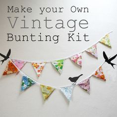 Vintage Fabric Bunting - DIY kit by http://thehabygoddess.bigcartel.com