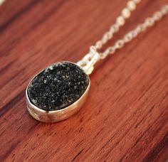 Geode Necklace  Black Druzy - Sterling Silver  $39.00