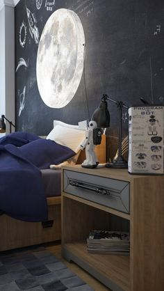 Four stylish kids room are fashionable and cozy. Mix and match patterns, creative wall treatments and custom furniture make for the perfect places to grow up. Blue Bedroom, Kids Bedroom, Bedroom Decor, Kids Rooms, Bedroom Ideas, Boy Rooms, Bedroom Lamps, Bedroom Lighting, Bedroom Inspiration
