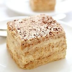 Cappuccino Icebox Cake - easy, no bake treat with graham crackers softened with airy cream-yogurt-cappuccino filling; only 6 ingredients