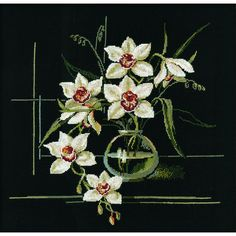 """White Orchid Counted Cross Stitch Kit-15.75""""X15.75"""" 15 Count 