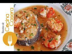 Merluza en salsa con gambas. Recetas de Pescados - YouTube Fish Recipes, Seafood Recipes, Mexican Food Recipes, Vegetarian Recipes, Cooking Recipes, Healthy Recipes, Deli Food, Good Food, Yummy Food