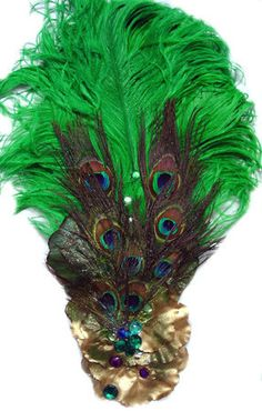Emerald PEACOCK Feather Ostrich Feather Victorian HEADDRESS NEW  $15.95