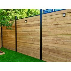 Slipfence 3 in. x 3 in. x 9 ft. 4 in. Black Powder Coated Aluminum Fence Post Includes Post - The Home Depot - Modern Design Front Yard Fence, Diy Fence, Backyard Fences, Backyard Landscaping, Garden Fences, Fenced In Backyard Ideas, Home Fencing, Yard Fencing, Patio Fence