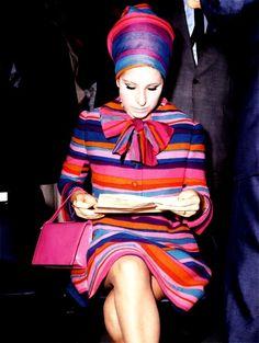 Barbra Streisand in 1967 Amazing stripes! Pink, blue, orange and purple.
