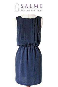 Digital Sewing Pattern - Sleeveless Pleat Front Dress. Reasonably priced