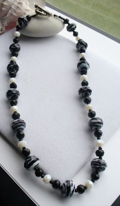 Black and White Glass Faceted Rondelle Necklace by Sparklesalot2, $28.00