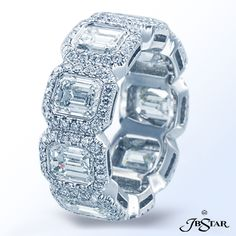 Style 4454 Platinum eternity band with emerald cut diamonds encircled by micropave #eternityband #diamondeternityband