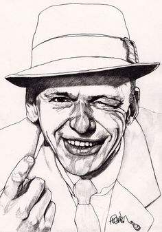 Frank - Original Signed Paul Nelson-Esch Drawing Art pencil Illustration portraiture singer jazz swing vegas 60s retro - Free S&H
