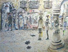 """""""Drones, copters...watch you!"""" 2014 Watercolor, pastel, chacroal & Ink on paper Canson 140 lbs 13.7 x 10.6 inches Carlos Pardo """"Los drones, copters...¡te vigilan!"""" 2014 Acuarela, pastel,carboncillo y tinta S/ papel 35x27 cms 130€ 0520 www.artcarlospard..."""