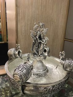 Radha and Krishna Silver Fountain Thali Decoration Ideas, Diwali Decorations, Festival Decorations, Wedding Decorations, Silver Pooja Items, Housewarming Decorations, Pooja Room Design, Puja Room, Silver Accessories