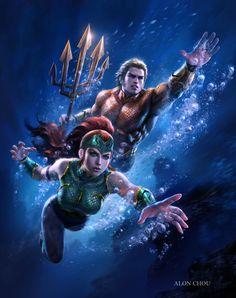 Aquaman & Mera by Alon Chou Marvel Dc Comics, Dc Comics Art, Marvel Art, Aquaman Dc Comics, Thor Marvel, Marvel Memes, Comic Book Characters, Comic Book Heroes, Comic Character