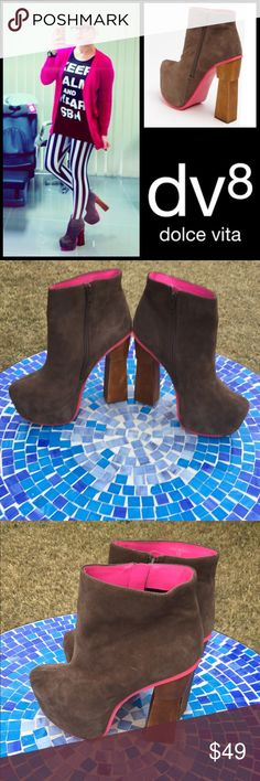 GREAT SHAPE!  DV8 Dolce Vita Yasmine platform boot Super unique DV8 Dolce Vita Yasmine platform boots are meticulously crafted from genuine suede with super pretty, hot pink suede trim and chic wooden heels, they are set to make a statement, no matter where you go!  They have only been worn a couple times w/ suede in beautiful condition & even the heels look amazing!  Only flaw is a dark area on sole, as seen in pic 7 & in other words virtually perfect condition!  Size 10.  Retail at $189…