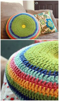 Crochet Easy Striped 16 Round Pillow – Free Pattern - 49 Free Crochet Pillow Patterns for Decorating Your Home - DIY & Crafts