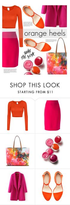 """""""orange heels"""" by agnesfrs ❤ liked on Polyvore featuring LE3NO, Lanvin, Tory Burch, Clinique, Zara and Whiteley"""