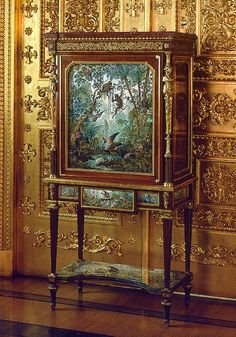 "Russia, St Petersburg, cupboard with the ""Tropical Forest"" panel, Nabokov, N. V., Le Riche, L. (drawings), Peterhof Lapidary Works, wood (plane), bronze, micro mosaic, 1888-1892 (lapis lazuli, chalcedony, cacholong, jasper, amazonite); gilded"