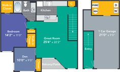 Aster Classic One-Bedroom Apartment, One Bathroom 910 Square Feet with Den and Garage Classic: From $1539 – $1799