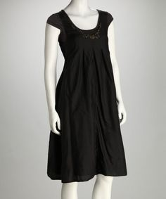 Take a look at this Black Beaded Silk-Blend Cap-Sleeve Dress by MONORENO by Mür on #zulily today!