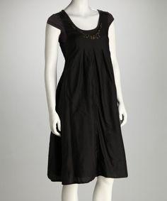 Look at this #zulilyfind! Black Beaded Silk-Blend Cap-Sleeve Dress #zulilyfinds