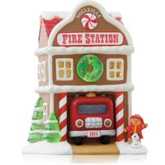 Fire Station 9th In The Noelville Series - 2014 Hallmark Keepsake Ornament  Attaches to a light string for optional lighting effect.