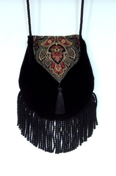 Fringed+Tapestry+Gypsy+Bag+Black+Cross+Body+Bag+by+piperscrossing,+$48.00