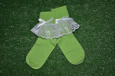 Apple Green -  Lace Socks with Bow for Little Girls - Size 6-7 1/2 (XS) - US Shoe Size 6-11