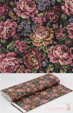 smooth cotton oxford fabric with tapestry style multicolor print of vintage roses and flowers, in pink, brown-yellow, blue, green etc., Material: 100% cotton #Cotton #Oxford #Flower #Leaf #Plants #JapaneseFabrics