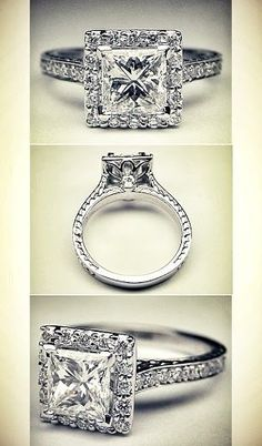 Princess Diamond Halo Engagement Ring Vintage gallery, I don't normally like princess cuts but I LOVE this