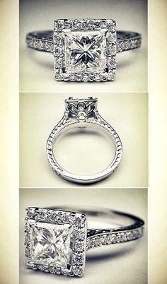 Princess Diamond Halo Engagement Ring Vintage gallery. Holy. Gorgeous.
