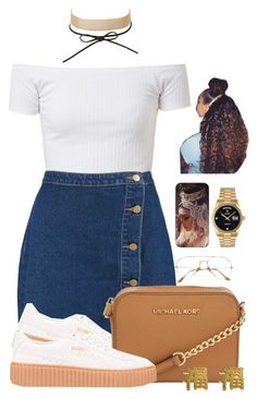 Untitled #2089 by basnightshine1015 ❤ liked on Polyvore featuring Boohoo, Charlotte Russe, Puma, Michael Kors, Rolex and yuki nagao