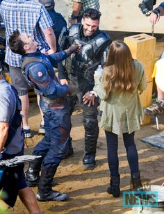 Chris Evans, Frank Grillo & Elizabeth Olsen on CAPTAIN AMERICA: CIVIL WAR Set