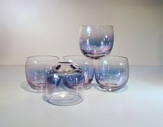 Vintage Roly Poly Gem Tone Federal Glass Beverage Glasses, Set of by on Etsy