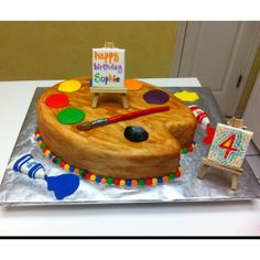 LOVE LOVE LOVE THIS! You could do a fun art project just for a sleepover or anything. Artist's Palette cake - fun idea for an art-themed kids birthday party!