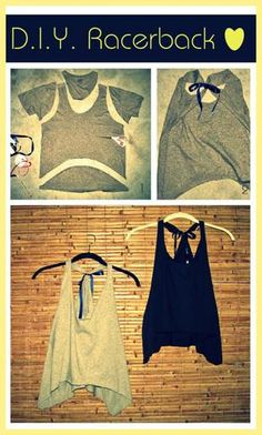 DIY Racerback Jersey Tank Top. I like the idea, but I would use the cut off cloth to braid in the back or something